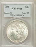 Morgan Dollars: , 1898 $1 MS65 PCGS. PCGS Population (2126/637). NGC Census:(2554/509). Mintage: 5,884,735. Numismedia Wsl. Price for proble...