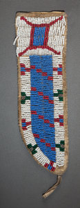 American Indian Art:Beadwork and Quillwork, A SIOUX BEADED HIDE KNIFE SHEATH. c. 1900...