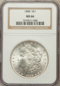 Morgan Dollars: , 1888 $1 MS66 NGC. NGC Census: (947/71). PCGS Population (641/16).Mintage: 19,183,832. Numismedia Wsl. Price for problem fr...