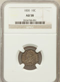 Bust Dimes: , 1830 10C Medium 10C AU58 NGC. NGC Census: (24/109). PCGS Population (14/101). Mintage: 510,000. Numismedia Wsl. Price for p...