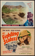 "Movie Posters:War, The Fighting Seabees (Republic, 1944). Title Lobby Card and LobbyCard (11"" X 14""). War.. ... (Total: 2 Items)"