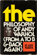 Books:Art & Architecture, Andy Warhol. THE Philosophy of Andy Warhol (From A to Band Back Again). New York: Harcourt Brace Jovanovich, [1...