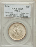 Commemorative Silver: , 1938-S 50C Texas MS67 PCGS. PCGS Population (56/1). NGC Census:(79/7). Mintage: 3,814. Numismedia Wsl. Price for problem f...