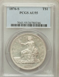 Trade Dollars: , 1876-S T$1 AU55 PCGS. PCGS Population (92/580). NGC Census:(52/570). Mintage: 5,227,000. Numismedia Wsl. Price for problem...