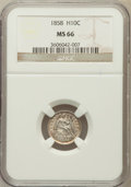 Seated Half Dimes: , 1858 H10C MS66 NGC. NGC Census: (54/25). PCGS Population (45/12).Mintage: 3,500,000. Numismedia Wsl. Price for problem fre...