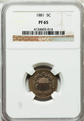 Proof Shield Nickels: , 1881 5C PR65 NGC. NGC Census: (233/198). PCGS Population (267/161).Mintage: 3,575. Numismedia Wsl. Price for problem free ...