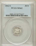 Three Cent Silver: , 1862/1 3CS MS62 PCGS. PCGS Population (27/310). NGC Census:(25/247). Mintage: 343,000. Numismedia Wsl. Price for problem f...