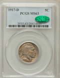Buffalo Nickels: , 1917-D 5C MS63 PCGS. CAC. PCGS Population (185/488). NGC Census:(130/259). Mintage: 9,910,000. Numismedia Wsl. Price for p...