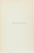 Books:Biography & Memoir, Helen Keller. Midstream. Garden City, New York: Doubleday,Doran & Company, Inc., 1929. Later edition. Signed ...