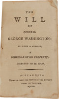 Books:Americana & American History, [George Washington, subject]. The Will of General GeorgeWashington: To Which Is Annexed, a Schedule of HisProper...