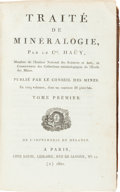 Books:Science & Technology, Rene Just Hauy. Traite de Mineralogie. Paris: Louis, 1801.First edition. Signed by the publisher on the verso of ... (Total:5 Items)