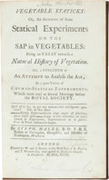 Books:Science & Technology, Stephen Hales. Vegetable Staticks: or, an Account of someStatical Experiments on the Sap in Vegetables: Being an Essay ...(Total: 2 Items)