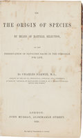 Books:Natural History Books & Prints, Charles Darwin. On the Origin of Species by Means of Natural Selection, or the Preservation of the Favoured Races in the...