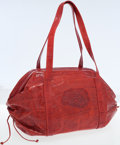 Luxury Accessories:Bags, Carlos Falchi Red Pressed Leather Oversize Satchel Bag. ...