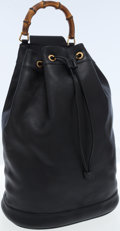 Luxury Accessories:Bags, Gucci Black Leather One Shoulder Backpack Bag with Bamboo Handle....