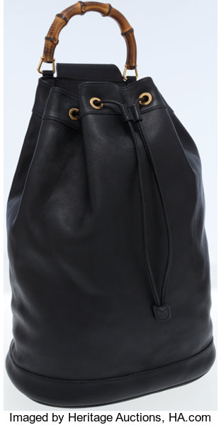 3b10fe75d5b2c3 Luxury Accessories:Bags, Gucci Black Leather One Shoulder Backpack Bag with Bamboo  Handle.