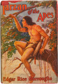 "Books:Fiction, Edgar Rice Burroughs. Tarzan of the Apes. NY: Grosset,[1943]. ""Madison Square"" Wartime edition. Inscribed by Burr..."