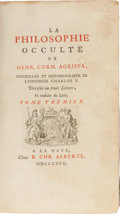 Books:Metaphysical & Occult, [Occult]. Agrippa. La Philosophie Occulte. La Haye: 1727.First edition, large paper copy , of this important set on...(Total: 2 Items)