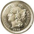1875 3CN Three Cent Nickel--Double Struck in Collar--PR64 PCGS. Proof coins were struck in limited quantities in the 19t...