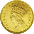 1861 G$1 Gold Dollar--Rotated Dies--MS61 NGC. The obverse and reverse are medallically aligned. They are so precisely al...
