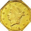 California Fractional Gold: , 1854 25C Liberty Octagonal 25 Cents, BG-108, Low R.4, MS63 PCGS. Alustrous and evenly struck example with flashy problem-f...