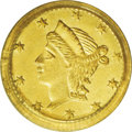 California Fractional Gold: , 1855 25C Liberty Round 25 Cents, BG-226A, R.5, MS63 PCGS. Listed onthe PCGS insert (and in the first edition of Breen-Gill...
