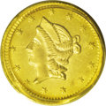 California Fractional Gold: , 1853 50C Liberty Round 50 Cents, BG-428, R.3, MS62 PCGS. Ashimmering and sharply struck Period One piece with slightly wav...