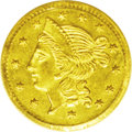 California Fractional Gold: , 1855 50C Liberty Round 50 Cents, BG-432, R.5, MS61 PCGS. A mildlyprooflike piece that has a sharp strike and well engraved...