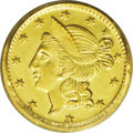 California Fractional Gold: , 1856 50C Liberty Round 50 Cents, BG-434, Low R.4, MS62 PCGS.Lustrous and pleasing despite a few faint reverse marks that m...