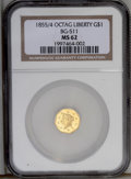 California Fractional Gold: , 1855/4 $1 Liberty Octagonal 1 Dollar, BG-511, Low R.4, MS62 NGC.Nicely defined with somewhat reflective luster. The surfac...