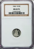 Seated Half Dimes, 1866 H10C MS65 Prooflike NGC....