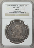 Early Dollars, 1798 $1 Large Eagle, Pointed 9, 10 Arrows VF25 NGC. B-13, BB-108,R.2....