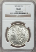 Morgan Dollars, 1891-CC $1 MS64 NGC....