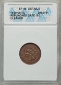 Indian Cents, 1869/69 1C Repunched Date -- Cleaned -- ANACS. XF45 Details.S-3....