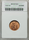 Lincoln Cents: , 1910 1C MS66 Red ANACS. NGC Census: (82/14). PCGS Population(140/20). Mintage: 146,801,216. Numismedia Wsl. Price for prob...