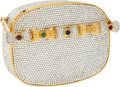 Luxury Accessories:Bags, Judith Leiber Full Bead Silver and Gold Bowtie Crystal MinaudiereEvening Bag. ...