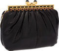 Luxury Accessories:Bags, Judith Leiber Black Snakeskin Clutch Bag with Cabochon Closure. ...