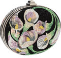 Luxury Accessories:Bags, Judith Leiber Full Bead Black, Pink & Green Crystal CalalilliesMinaudiere Evening Bag. ...