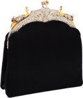 Luxury Accessories:Bags, Judith Leiber Black Satin Peacock Evening Bag. ...