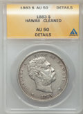 Coins of Hawaii: , 1883 $1 Hawaii Dollar -- Cleaned -- ANACS. AU50 Details. NGCCensus: (23/170). PCGS Population (60/193). Mintage: 500,000. ...