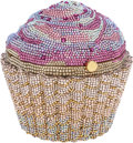 Luxury Accessories:Bags, Judith Leiber Full Bead Pink & Gold Crystal Cupcake MinaudiereEvening Bag. ...