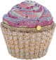 Judith Leiber Full Bead Pink & Gold Crystal Cupcake Minaudiere Evening Bag