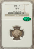 Barber Dimes, 1897 10C MS66 NGC. CAC....