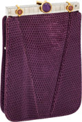 Luxury Accessories:Bags, Judith Leiber Violet Lizard Evening Pouch. ...