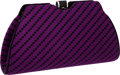 Luxury Accessories:Bags, Judith Leiber Purple & Black Satin Jacquard Clutch withShoulder Strap. ...
