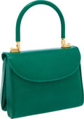 Luxury Accessories:Bags, Judith Leiber Bright Green Lizard Interchangeable Top HandleShoulder Bag. ...