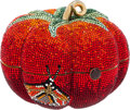 Luxury Accessories:Bags, Judith Leiber Full Bead Red Crystal Tomato Minaudiere Evening Bag....