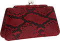 Luxury Accessories:Bags, Judith Leiber Red & Black Snakeskin Clutch with Shoulder Strap....