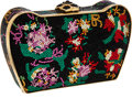 Luxury Accessories:Bags, Judith Leiber Full Bead Black & Multicolor Crystal FloralMinaudiere Evening Bag. ...
