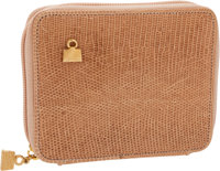 Judith Leiber Light Pink Lizard Zip-Around Square Wallet